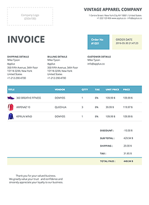 Shopify - Clipper Invoice Template