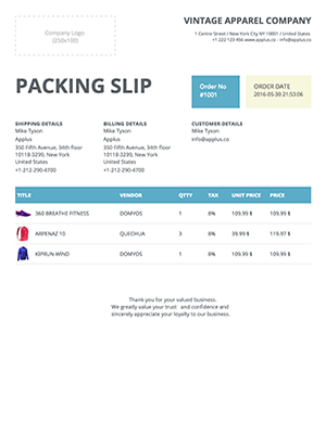 Shopify - Clipper Packing Slip Template