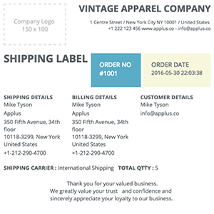 Shopify - Clipper Shipping Label Template