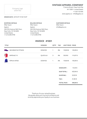 Shopify - Simplex Invoice Template