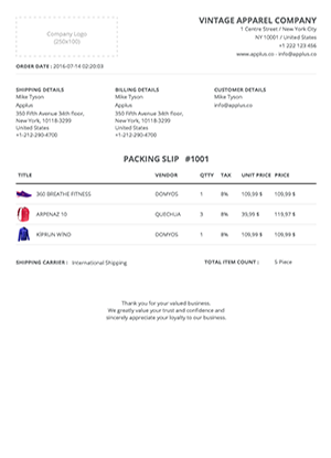 Shopify - Simplex Packing Slip Template