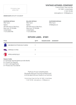 Shopify - Simplex Return Form Template