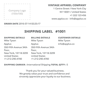 Shopify - Simplex Shipping Label Template