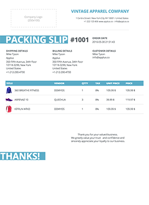 Shopify - Stripes Packing Slip Template