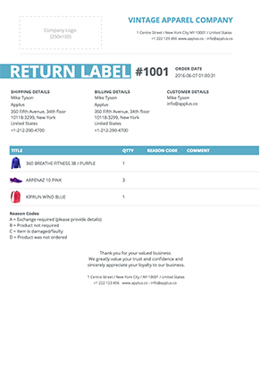 Shopify - Stripes Return Form Template