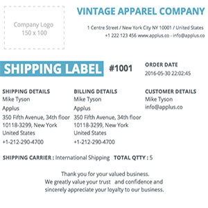Shopify - Stripes Shipping Label Template