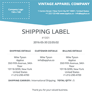 Shopify - Trigon Shipping Label Template