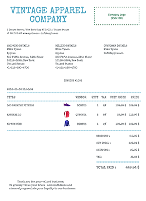 Shopify - Typewriter Invoice Template